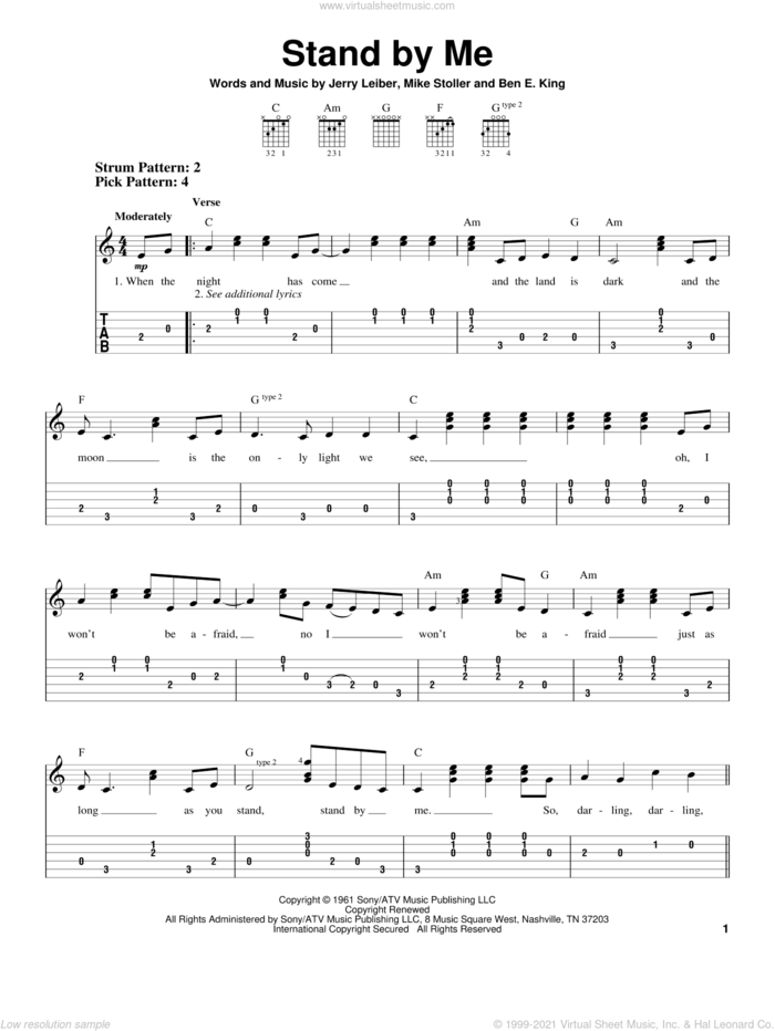 Stand By Me sheet music for guitar solo (easy tablature) by Mickey Gilley, Ben E. King, Jerry Leiber and Mike Stoller, easy guitar (easy tablature)