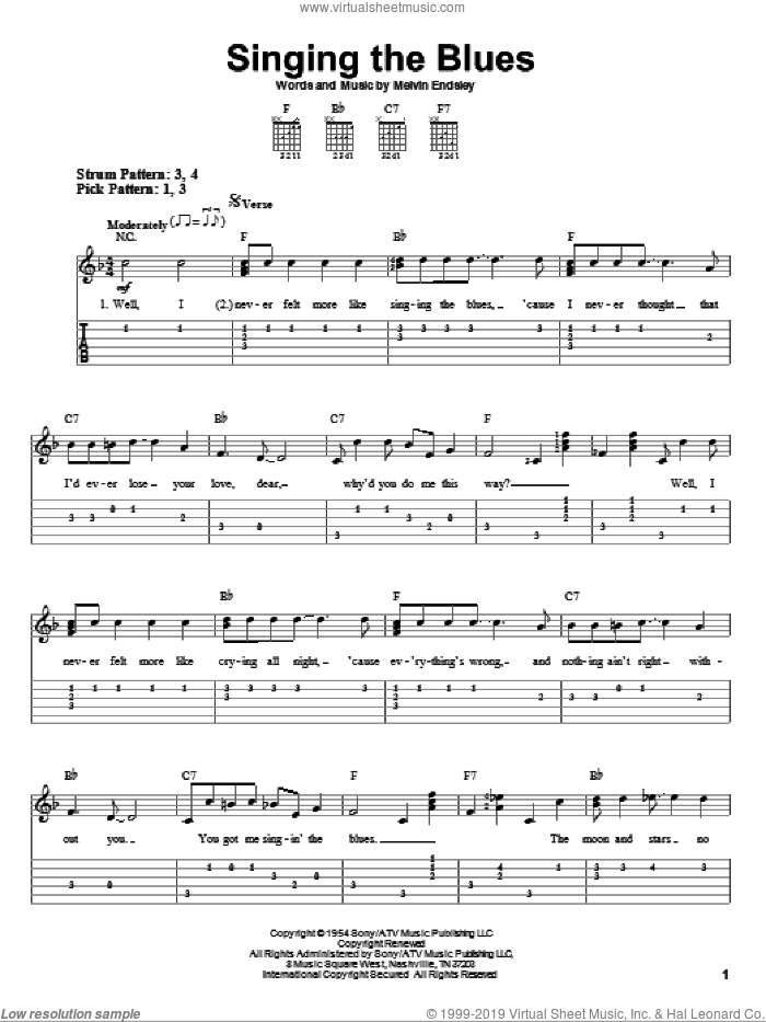 Singing The Blues sheet music for guitar solo (easy tablature) by Guy Mitchell, Marty Robbins and Melvin Endsley, easy guitar (easy tablature)