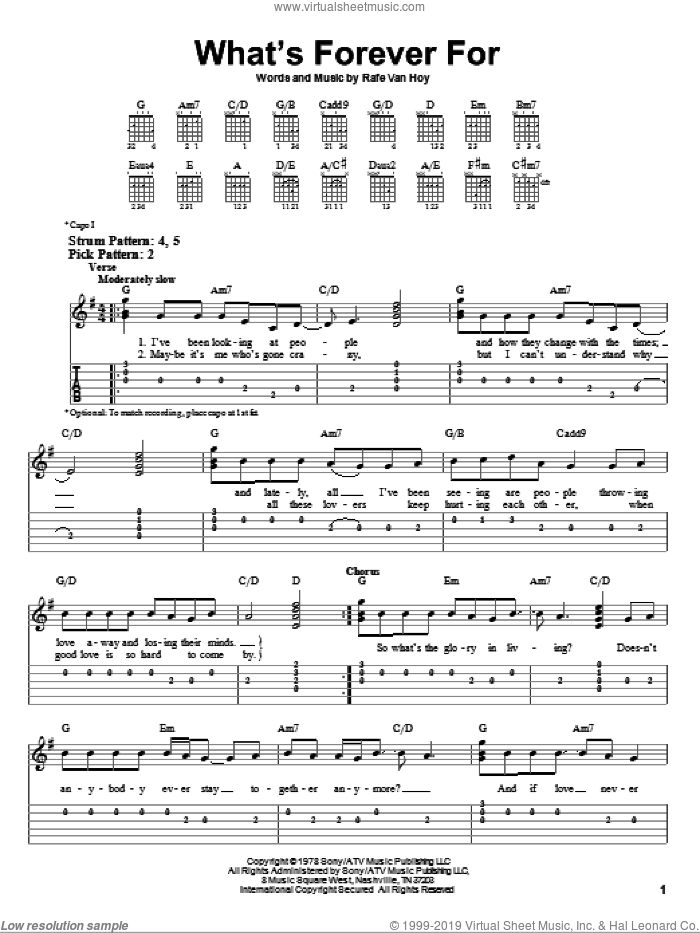 What's Forever For sheet music for guitar solo (easy tablature) by Michael Martin Murphey and Rafe VanHoy, easy guitar (easy tablature)