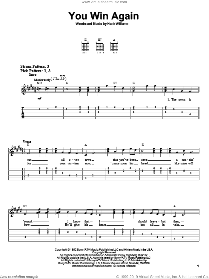 You Win Again sheet music for guitar solo (easy tablature) by Hank Williams, easy guitar (easy tablature)