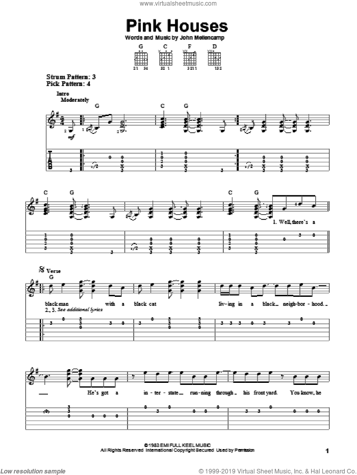 Pink Houses sheet music for guitar solo (easy tablature) by John Mellencamp, easy guitar (easy tablature)