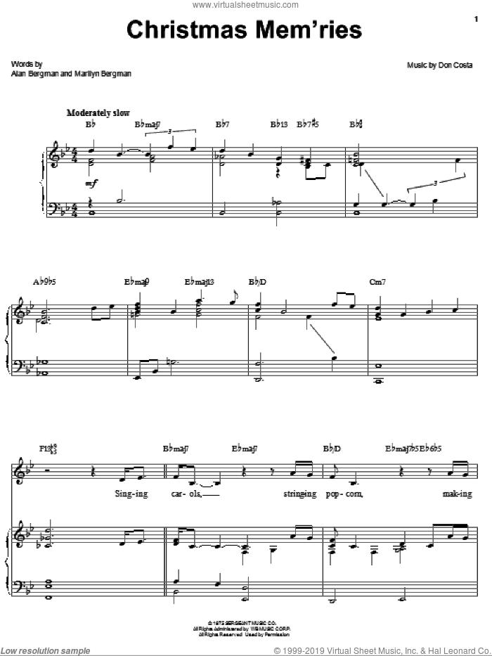Christmas Mem'ries sheet music for voice, piano or guitar by Barbra Streisand, Alan Bergman, Don Costa and Marilyn Bergman, intermediate skill level