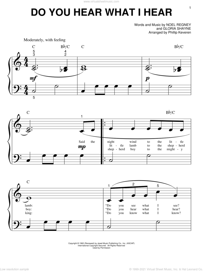 Do You Hear What I Hear (arr. Phillip Keveren) sheet music for piano solo (big note book) by Gloria Shayne, Phillip Keveren and Noel Regney, easy piano (big note book)