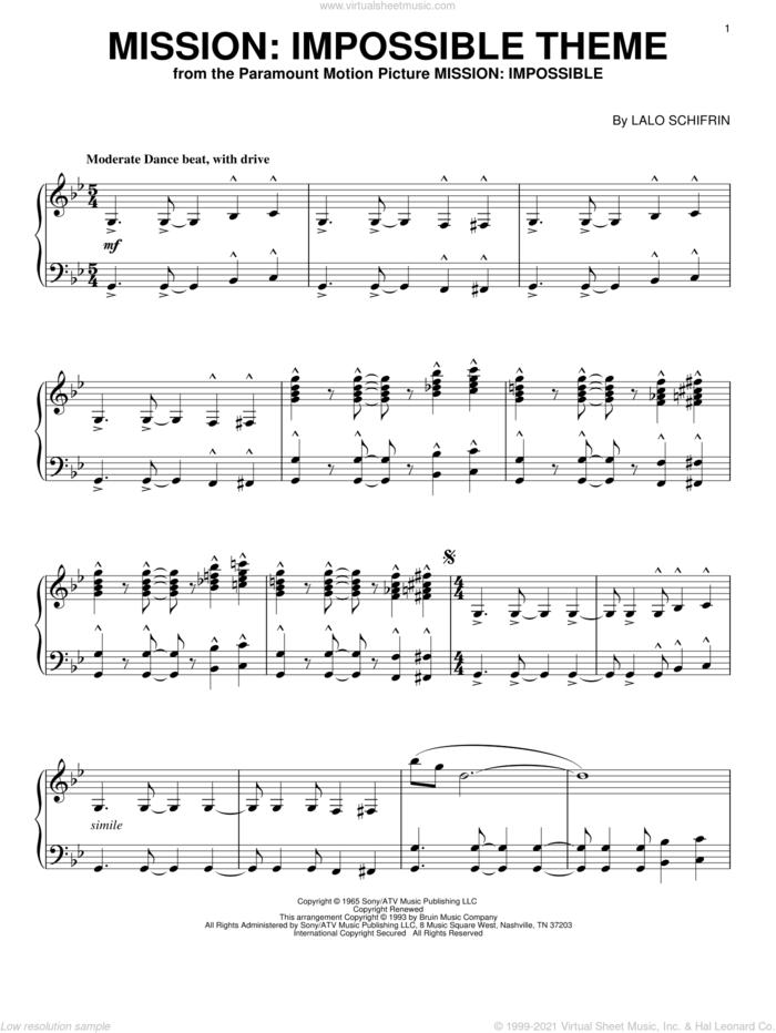 Mission: Impossible Theme, (intermediate) sheet music for piano solo by Lalo Schifrin, intermediate skill level