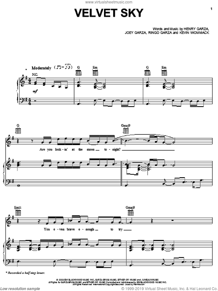 Velvet Sky sheet music for voice, piano or guitar by Los Lonely Boys, Henry Garza, Joey Garza, Kevin Wommack and Ringo Garza, intermediate skill level