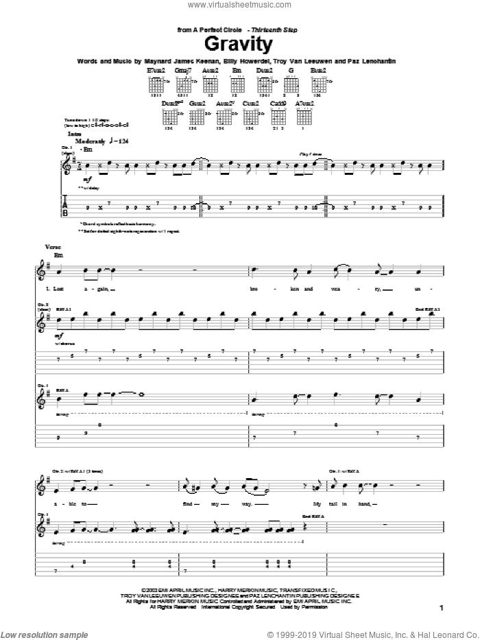 Gravity sheet music for guitar (tablature) by A Perfect Circle, Billy Howerdel, Maynard James Keenan, Paz Lenchantin and Troy Van Leeuwen, intermediate skill level