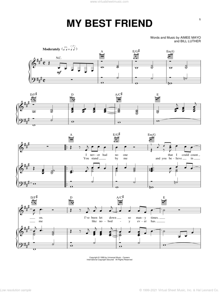 My Best Friend sheet music for voice, piano or guitar by Tim McGraw, Aimee Mayo and Bill Luther, intermediate skill level