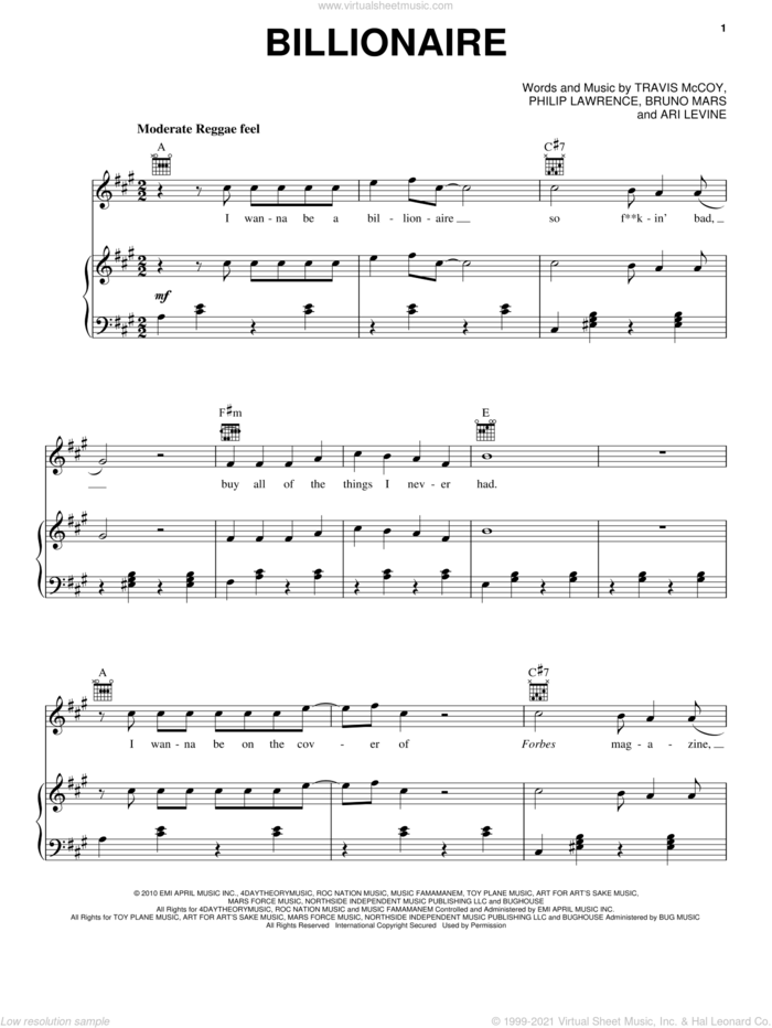 Billionaire sheet music for voice, piano or guitar by Travie McCoy featuring Bruno Mars, Travie McCoy, Ari Levine, Bruno Mars and Philip Lawrence, intermediate skill level