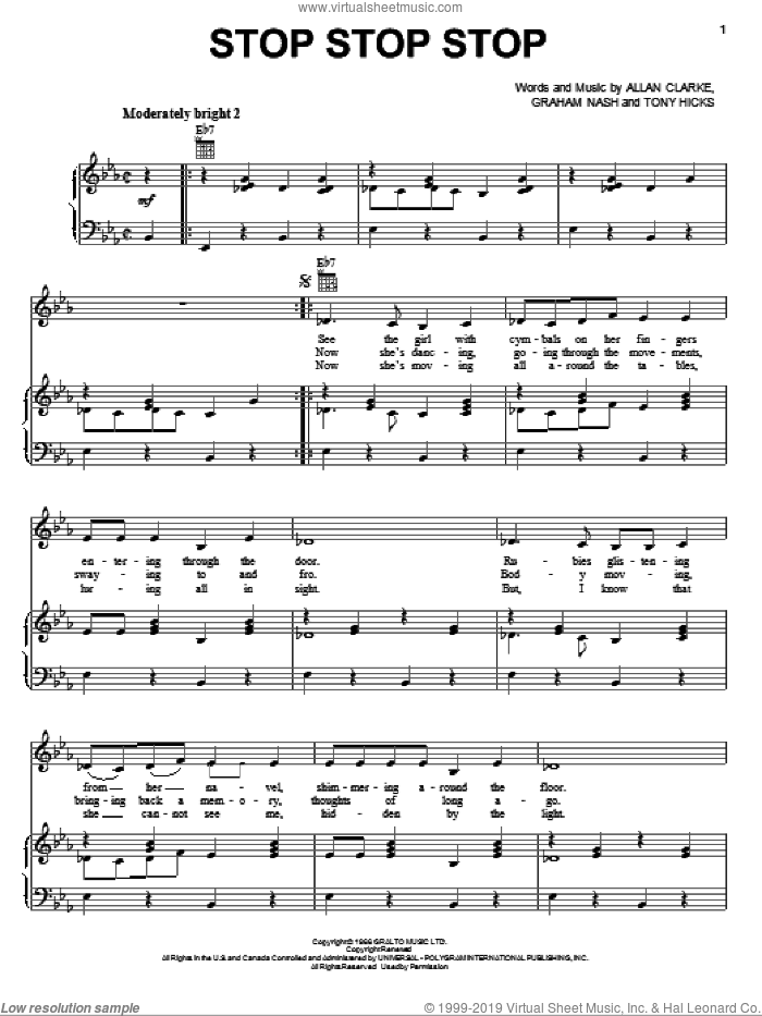 Stop Stop Stop sheet music for voice, piano or guitar by The Hollies, Allan Clarke, Graham Nash and Tony Hicks, intermediate skill level