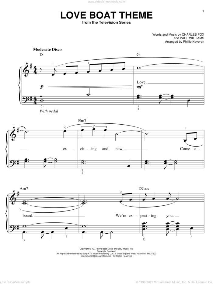 Love Boat Theme sheet music for piano solo by Charles Fox, Phillip Keveren and Paul Williams, easy skill level