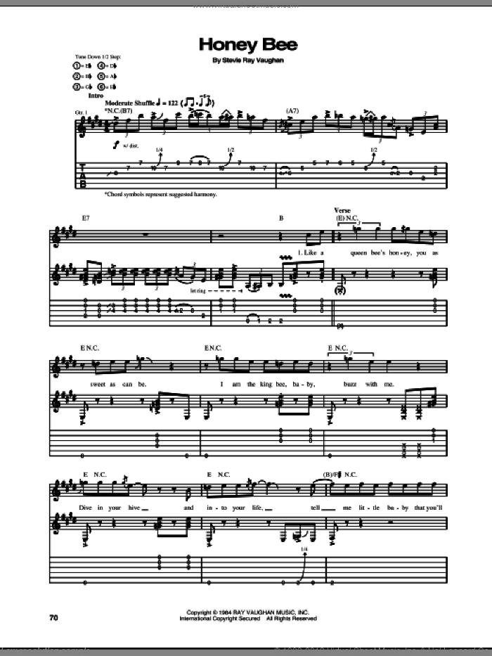 Honey Bee sheet music for guitar (tablature) by Stevie Ray Vaughan, intermediate skill level