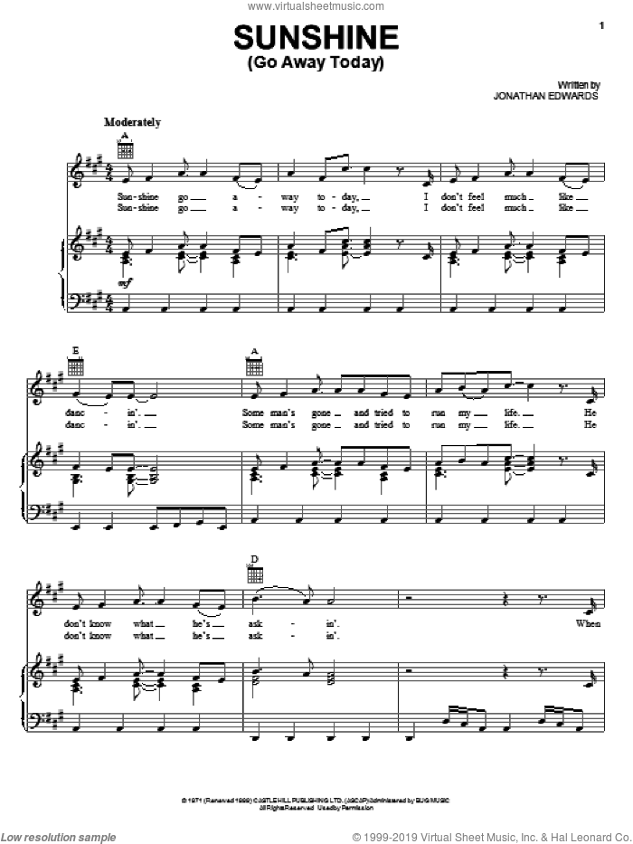 Sunshine (Go Away Today) sheet music for voice, piano or guitar by Jonathan Edwards, intermediate skill level