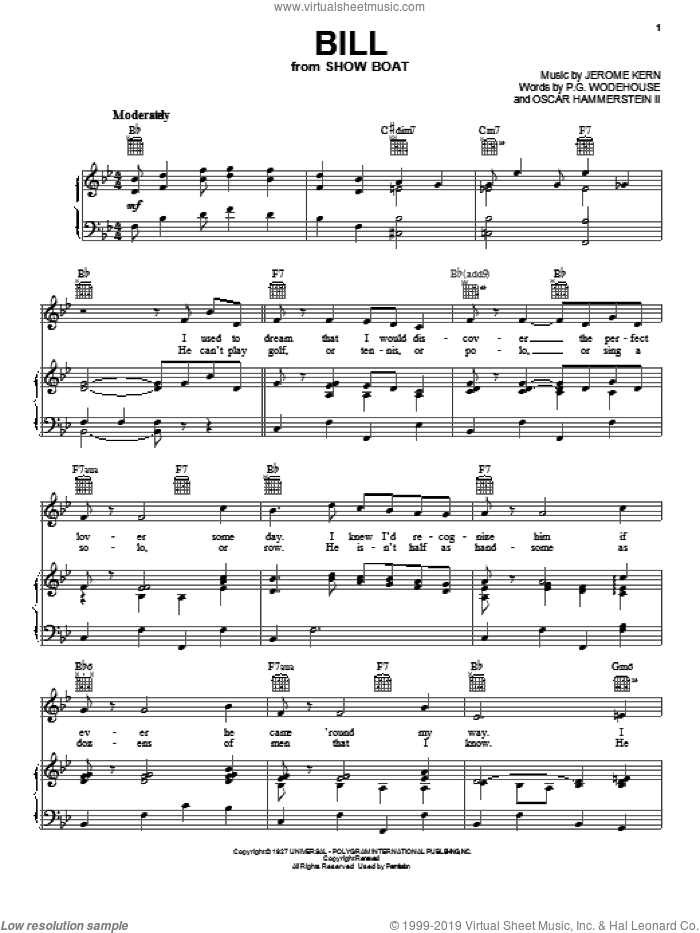 Bill sheet music for voice, piano or guitar by Jerome Kern, Show Boat (Musical), Oscar II Hammerstein and P.G. Wodehouse, intermediate skill level