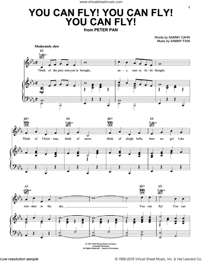 You Can Fly! You Can Fly! You Can Fly! sheet music for voice, piano or guitar by Sammy Cahn and Sammy Fain, intermediate skill level