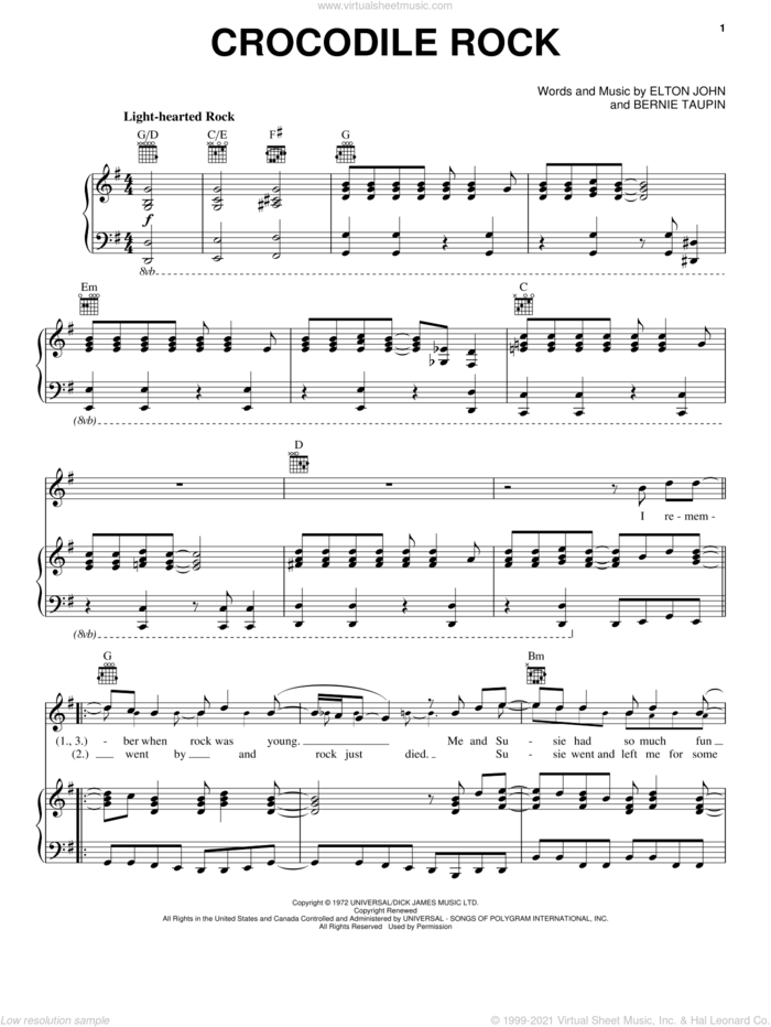 Crocodile Rock sheet music for voice, piano or guitar by Elton John and Bernie Taupin, intermediate skill level