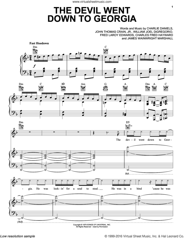 The Devil Went Down To Georgia sheet music for voice, piano or guitar by Charlie Daniels Band, Charles Fred Hayward, Charlie Daniels, Fred Laroy Edwards, James Wainwright Marshall, John Thomas Crain, Jr. and William Joel DiGregorio, intermediate skill level
