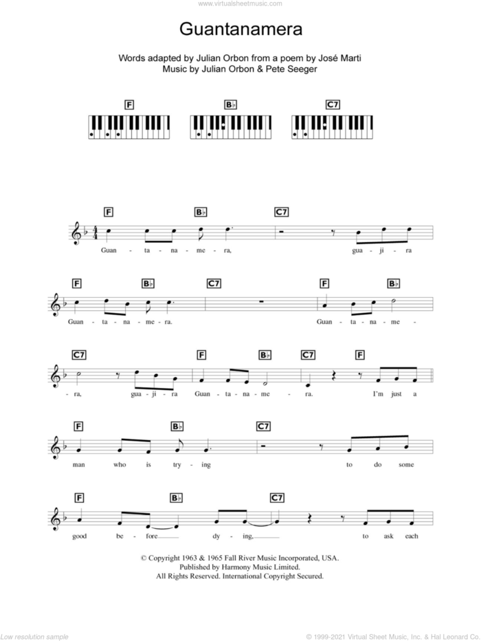 Guantanamera sheet music for piano solo (chords, lyrics, melody) by Pete Seeger and Jose Marti, intermediate piano (chords, lyrics, melody)