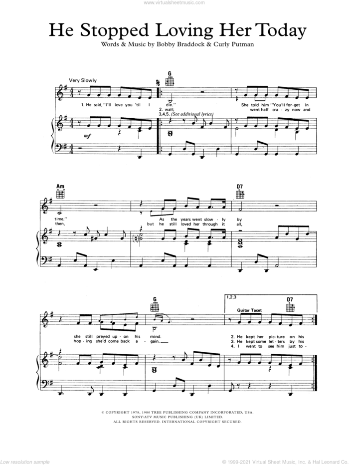 He Stopped Loving Her Today sheet music for voice, piano or guitar by George Jones, Bobby Braddock and Curly Putman, intermediate skill level