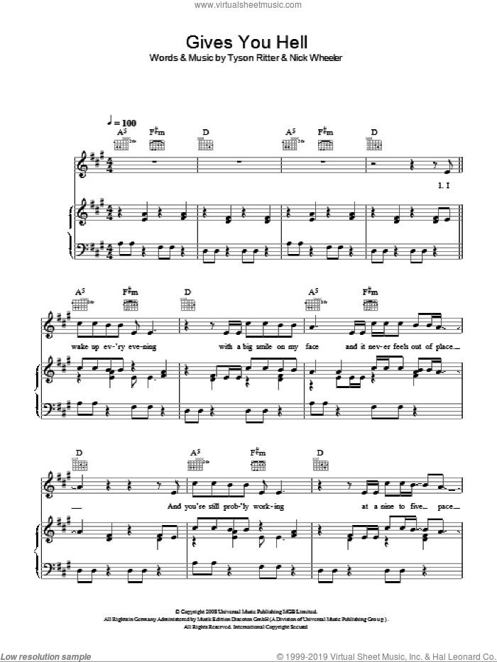 Gives You Hell sheet music for voice, piano or guitar by Glee Cast, Miscellaneous, The All-American Rejects, Nick Wheeler and Tyson Ritter, intermediate skill level