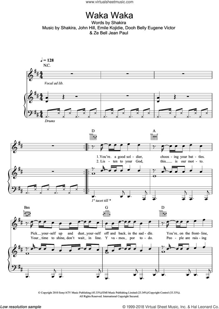 Waka Waka (This Time For Africa) (featuring Freshlyground) sheet music for voice, piano or guitar by Shakira featuring Freshlyground, Shakira, Dooh Belly Eugene Victor, Emile Kojidie, John Hill and Ze Bell Jean Paul, intermediate skill level