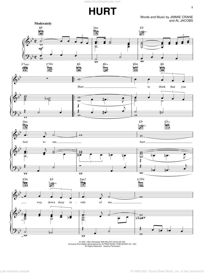 Hurt sheet music for voice, piano or guitar by Elvis Presley, Al Jacobs and Jimmie Crane, intermediate skill level