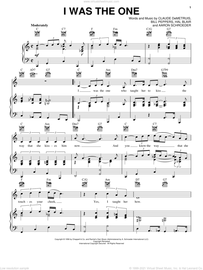 I Was The One sheet music for voice, piano or guitar by Elvis Presley, Aaron Schroeder, Bill Peppers, Claude DeMetruis and Hal Blair, intermediate skill level