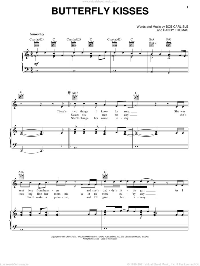 Butterfly Kisses sheet music for voice, piano or guitar by Bob Carlisle, Jeff Carson, Raybon Brothers and Randy Thomas, wedding score, intermediate skill level