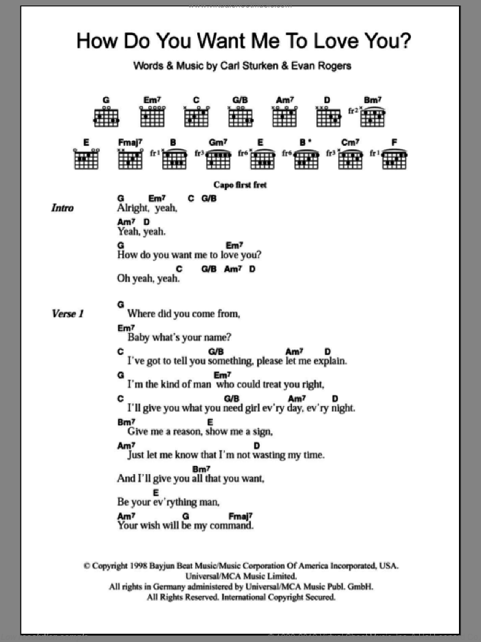 How Do You Want Me To Love You? sheet music for guitar (chords) by 911, Carl Sturken and Evan Rogers, intermediate skill level