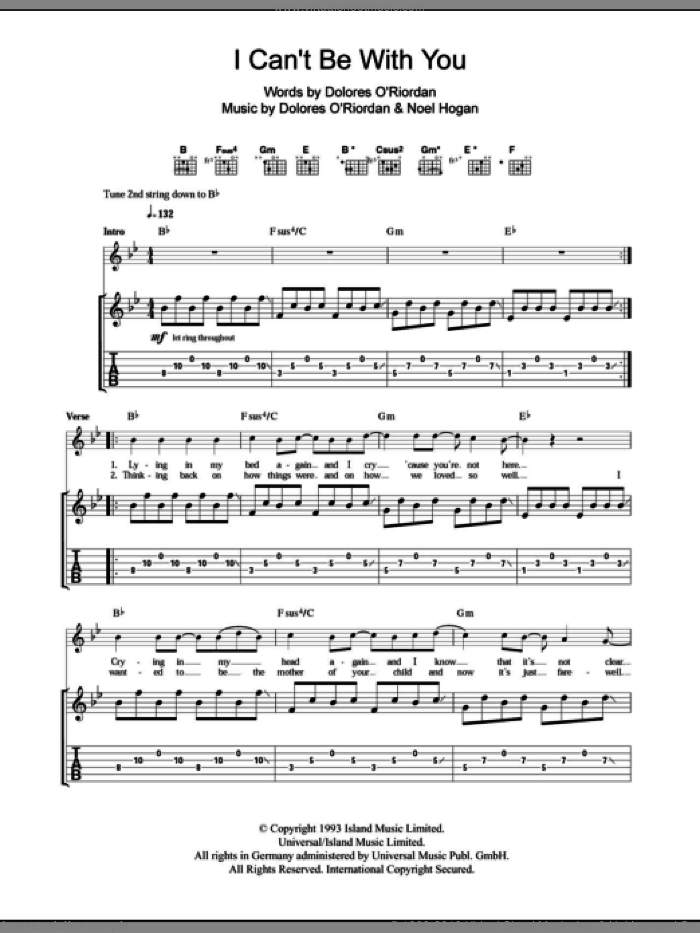 I Can't Be With You sheet music for guitar (tablature) by The Cranberries and Noel Hogan, intermediate skill level