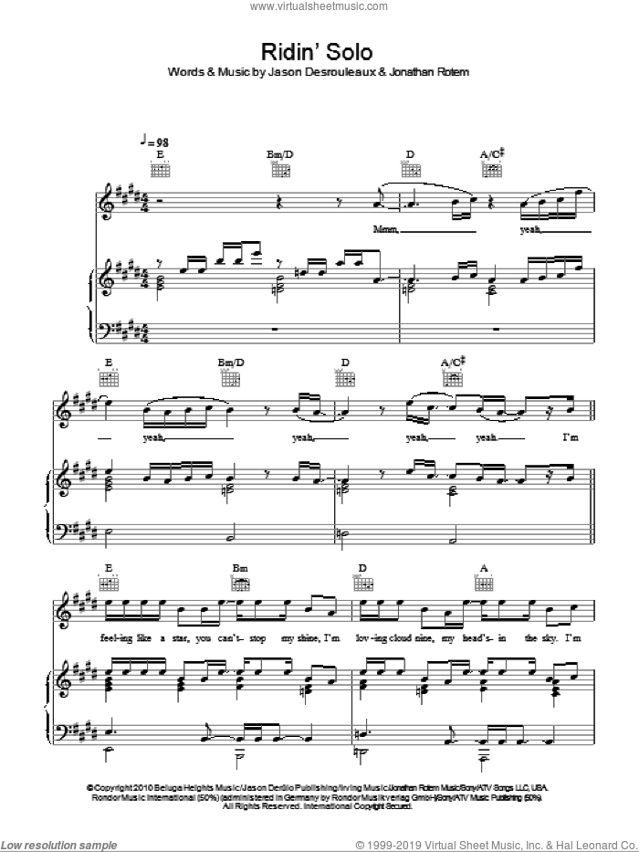 Ridin' Solo sheet music for voice, piano or guitar by Jason Derulo, Jason Desrouleaux and Jonathan Rotem, intermediate skill level