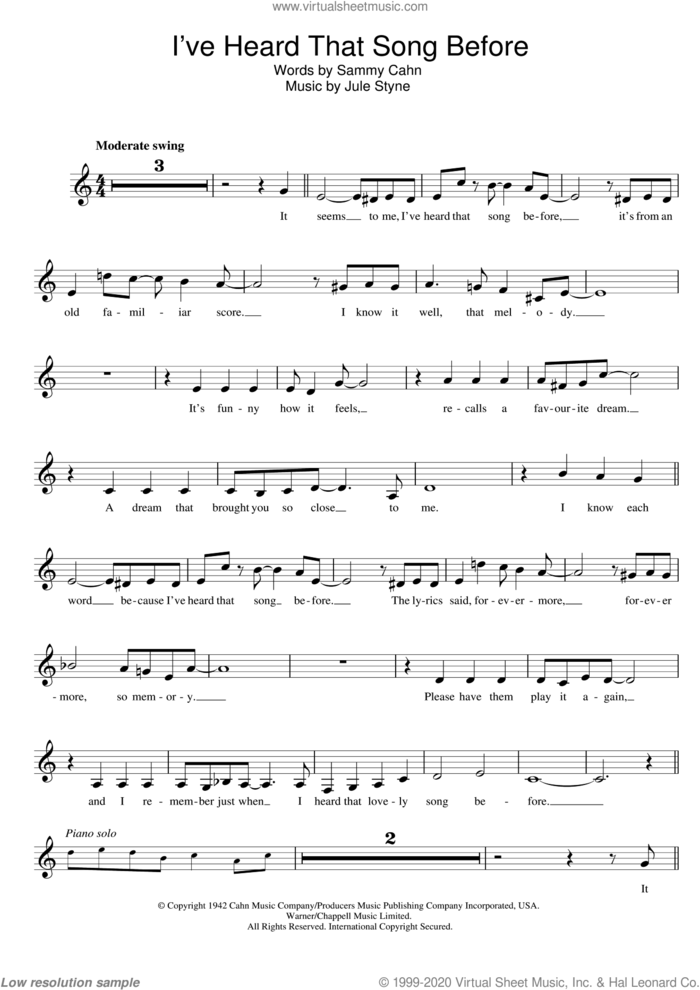 I've Heard That Song Before sheet music for voice and other instruments (fake book) by Harry James, Jule Styne and Sammy Cahn, intermediate skill level