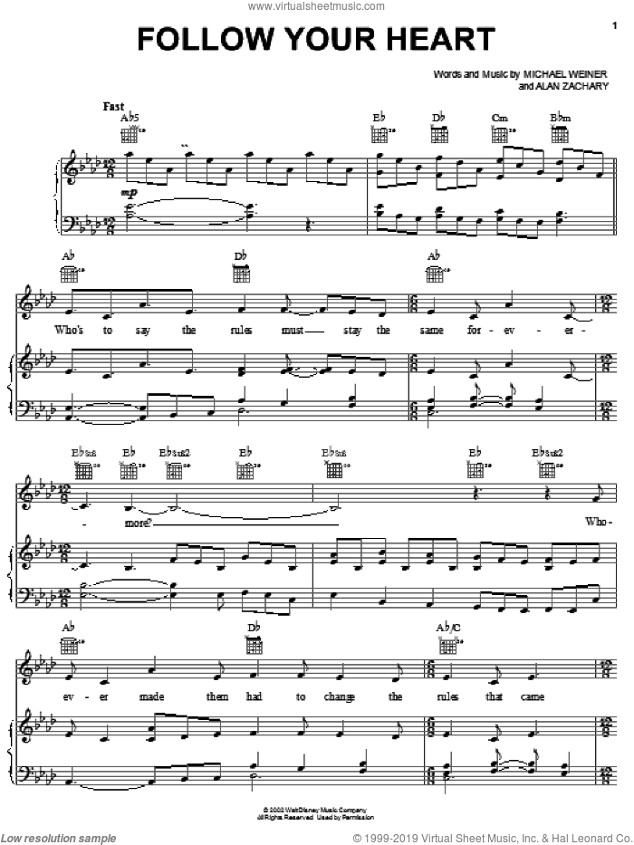Follow Your Heart sheet music for voice, piano or guitar by Michael Weiner and Alan Zachary, intermediate skill level