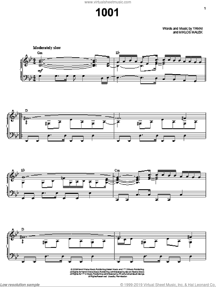 1001 sheet music for voice, piano or guitar by Yanni and Miklos Malek, intermediate skill level