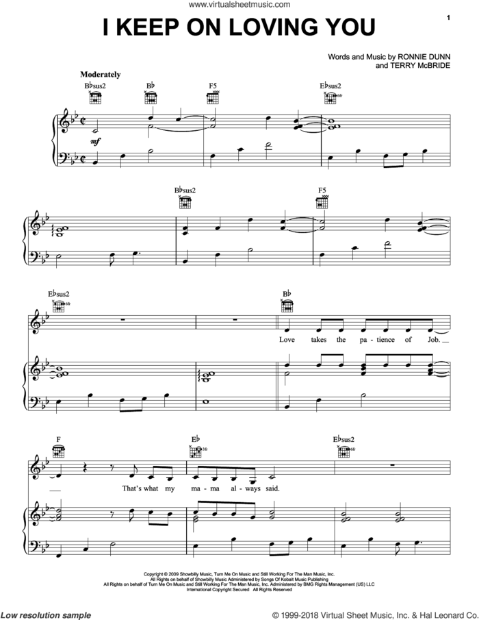 I Keep On Loving You sheet music for voice, piano or guitar by Reba McEntire, Ronnie Dunn and Terry McBride, intermediate skill level