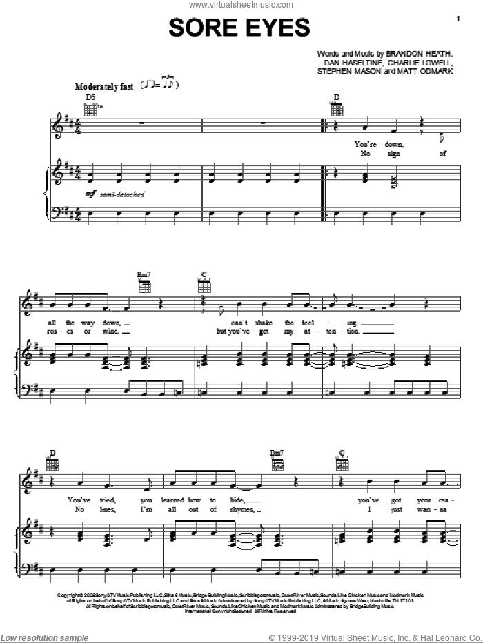 Sore Eyes sheet music for voice, piano or guitar by Brandon Heath, Charlie Lowell, Dan Haseltine, Matt Odmark and Stephen Mason, intermediate skill level