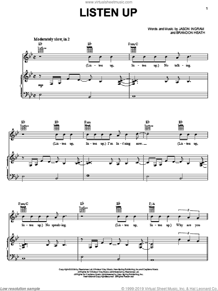 Listen Up sheet music for voice, piano or guitar by Brandon Heath and Jason Ingram, intermediate skill level