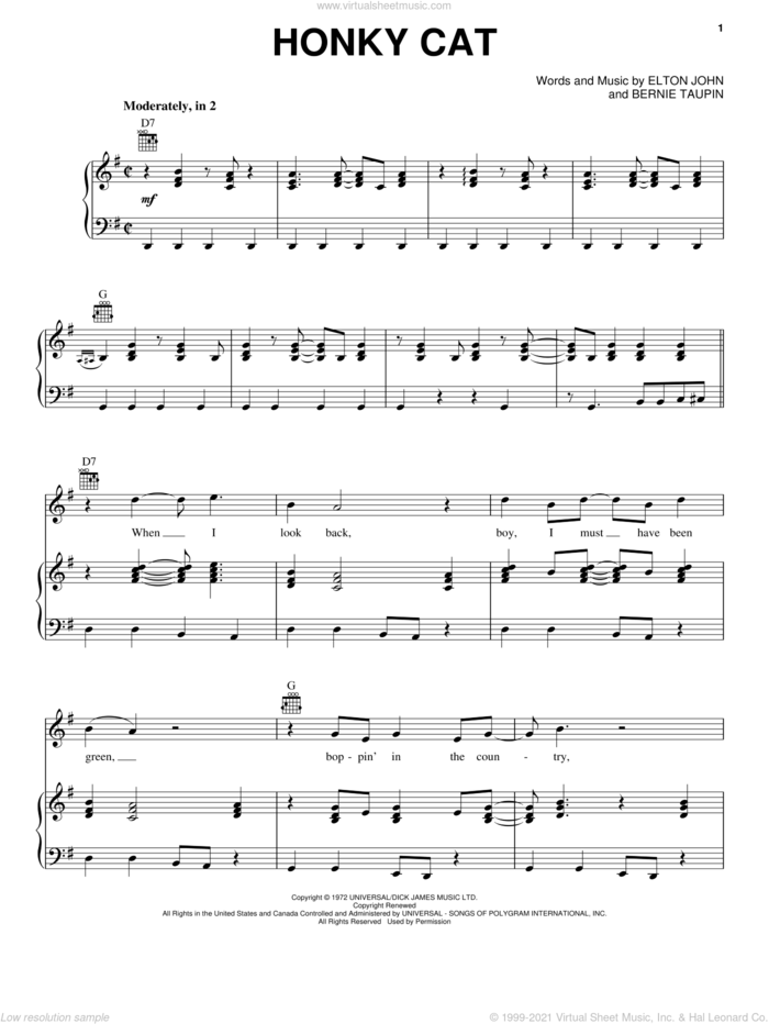 Honky Cat sheet music for voice, piano or guitar by Elton John and Bernie Taupin, intermediate skill level