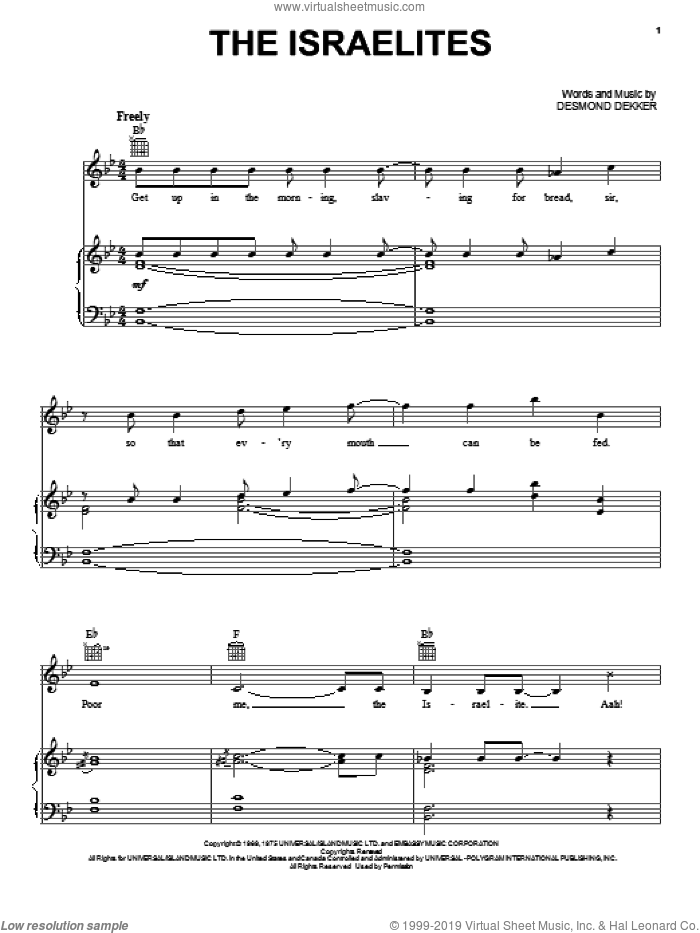 The Israelites sheet music for voice, piano or guitar by Desmond Dekker & The Aces and Desmond Dekker, intermediate skill level