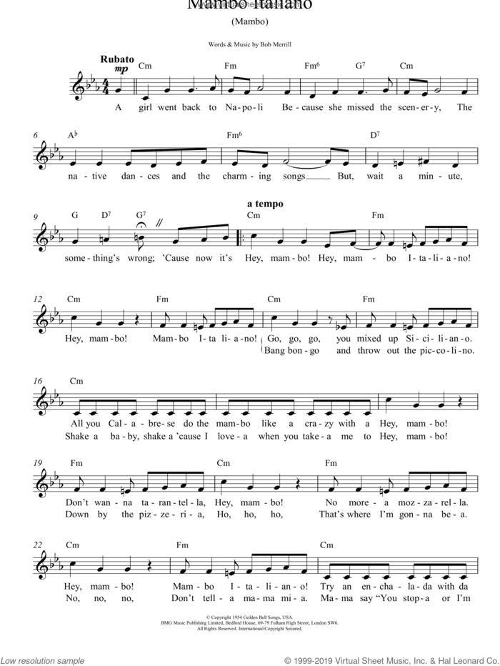 Mambo Italiano sheet music for voice and other instruments (fake book) by Dean Martin, Rosemary Clooney and Bob Merrill, intermediate skill level