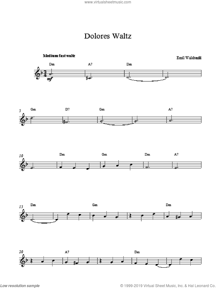 Dolores Waltz sheet music for voice and other instruments (fake book) by Emile Waldteufel, classical score, intermediate skill level