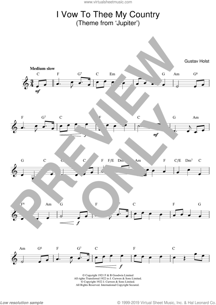 I Vow To Thee My Country sheet music for voice and other instruments (fake book) by Gustav Holst, classical score, intermediate skill level