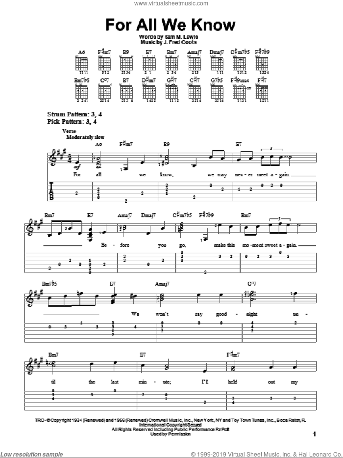 For All We Know sheet music for guitar solo (easy tablature) by J. Fred Coots and Sam Lewis, easy guitar (easy tablature)