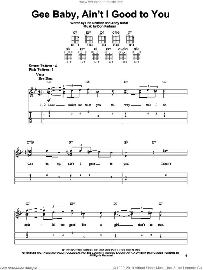 Gee Baby, Ain't I Good To You sheet music for guitar solo (easy tablature) by Andy Razaf, Nat King Cole and Don Redman, easy guitar (easy tablature)