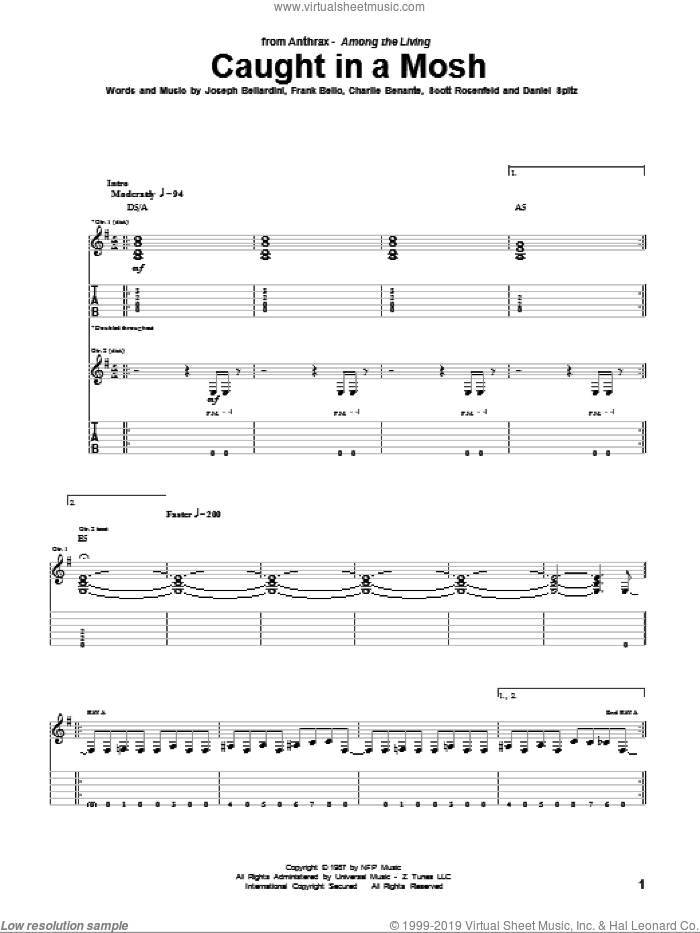 Caught In A Mosh sheet music for guitar (tablature) by Anthrax, Charlie Benante, Daniel Spitz, Frank Bello, Joseph Bellardini and Scott Rosenfeld, intermediate skill level