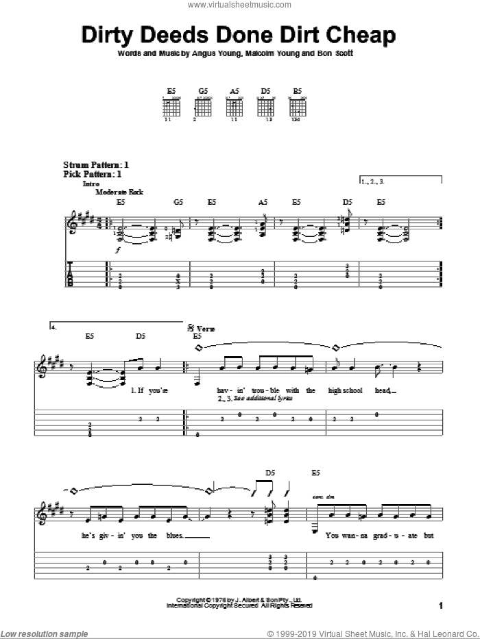 Dirty Deeds Done Dirt Cheap sheet music for guitar solo (easy tablature) by AC/DC, Angus Young, Bon Scott and Malcolm Young, easy guitar (easy tablature)