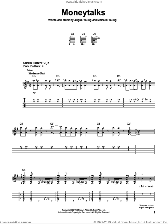 Moneytalks sheet music for guitar solo (easy tablature) by AC/DC, Angus Young and Malcolm Young, easy guitar (easy tablature)