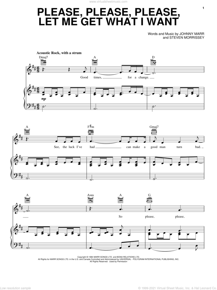 Please, Please, Please, Let Me Get What I Want sheet music for voice, piano or guitar by The Smiths, Johnny Marr and Steven Morrissey, intermediate skill level