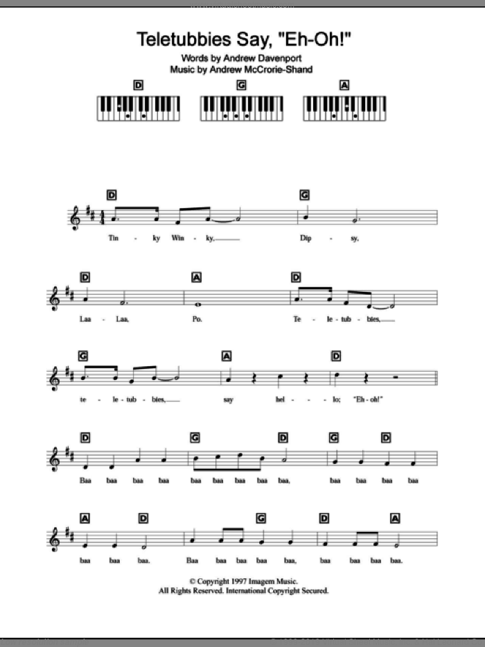 Teletubbies Say 'Eh-oh!' sheet music for piano solo (chords, lyrics, melody) by Andrew Davenport and Andrew McCrorie-Shand, intermediate piano (chords, lyrics, melody)
