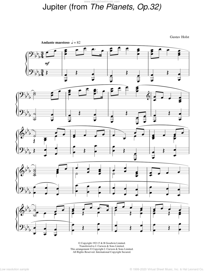 Jupiter (from The Planets Op. 32), (intermediate) (from The Planets Op. 32) sheet music for piano solo by Gustav Holst, classical score, intermediate skill level