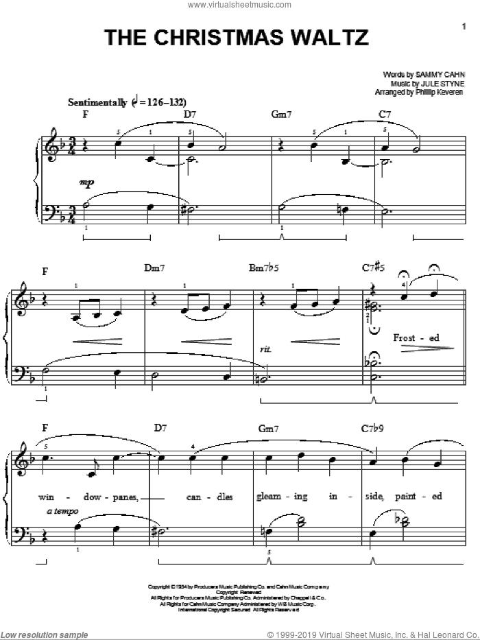 The Christmas Waltz [Jazz version] (arr. Phillip Keveren) sheet music for piano solo by Sammy Cahn, Phillip Keveren and Jule Styne, easy skill level